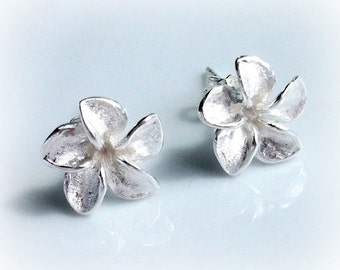 Solid Silver Flower Earrings Studs Gift For Her