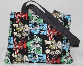 Handmade Quilted Purse with zipper closure, Marvel Comic Fabric with Captain America, Iron Man, Spiderman and The Hulk
