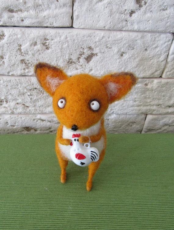 Sly Fox with chicken-bellCute little Fox Needle felted fox needle felted animal red fox