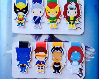 Set of Eight Superhero Magnetic Bookmarks