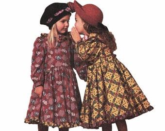 Girls Prairie Dress MCCALLS 6307 sz 8 UNCUT Girls Ruffled Dress Girls Dress Pattern Girls Party Dress Sunday Dress Pattern Country Dress