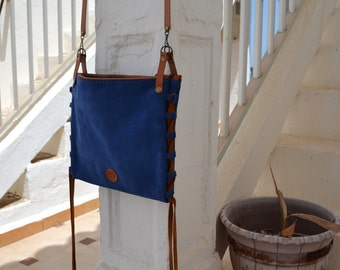 Pillow Bag/ Suede Bag/ Blue Suede/ Boho Bag/ Boho leather Bag/