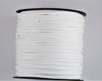 20 yards of suede cord, faux suede cord, cord for jewelry,  cord for bracelet, suede cord for necklace, faux suede string, white suede cord