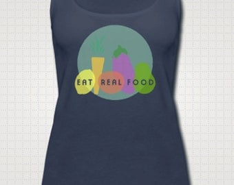 Eat Real Food Women's Tank Top (Navy and White)