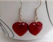 Red Heart Drop Earrings Red Earrings Heart Earrings Dangle Earrings