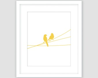 White and Mustard Yellow, Birds on a Wire Print, Animal Wall Art, Modern Art, Instant Download, DIY, Printable