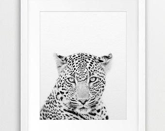 Leopard Print, Safari African Animal, Animal Photography Black And White, Nursery Decor, Kids Room Wall Art, Printable Art, Digital Download