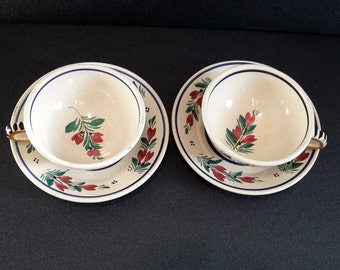 antique french Quimper ceramic cups and saucers, Brittany dish, vintage french dish