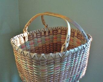 Large Vintage Wicker Basket with Handles; Square Wicker Basket, Bentwood Handles; Split Reed Basket; Gathering Basket; Picnic Basket