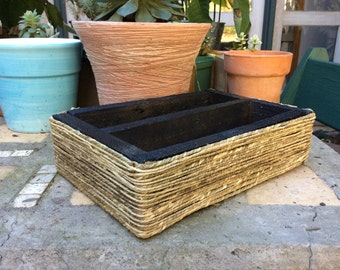Shallow Succulent Planter Wrapped with Grass Cord