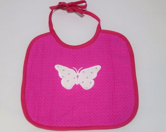 Butterfly embroidered bib pink.