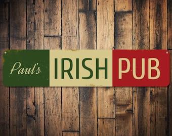 Irish Pub Name Bar Sign, Personalized Metal Bar Decor, Custom St. Patricks Day Sign, Irish Flag Bar Decor - Quality Aluminum ENS1001678