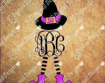 Witch Monogram Frame SVG - Dxf - Png - Eps - Fcm - Ai - Witch Monogram Frame - Witch Hat - Witch Legs - Halloween SVG