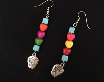 Colorful sugar skull necklace and earring set.
