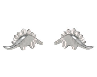 Super Cute Polished Little  Stegosaurus Dinosaur Stud Earrings in Sterling Silver