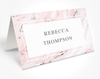 Marble Pink and Chocolate Wedding Place Cards, Modern, Place Cards, Marbled Wedding Suite DEPOSIT | Peach Perfect Australia