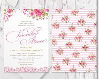 Vintage Flowers and Lace Girl Christening or Baptism Invitation | Pink Floral | Printed On Luxe Double Sided Cardstock