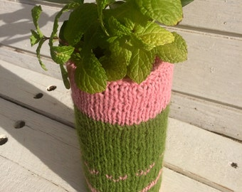 Granny Chic Knit Vase Cozy - Green and Pink, Shabby Chic, Country Chic, Flower Vase, Craft Organizer