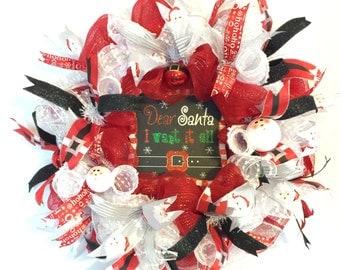 SANTA CHRISTMAS WREATH, Santa Deco Mesh Wreath, Santa Decor, Ready to Ship