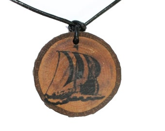 Log trailer Viking ship, with leather strap