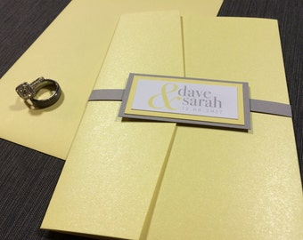 Yellow and Gray Wedding Invitations, Modern Wedding Invitations, Classic Elegant Invitations, Grey and Yellow Wedding Invites with BellyBand