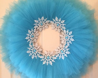 Blue Tulle Tutu Wreath with Glitter Snowflakes; Winter Wreath; Frozen Wreath; Christmas Wreath; Holiday Decor Wreath for Girl