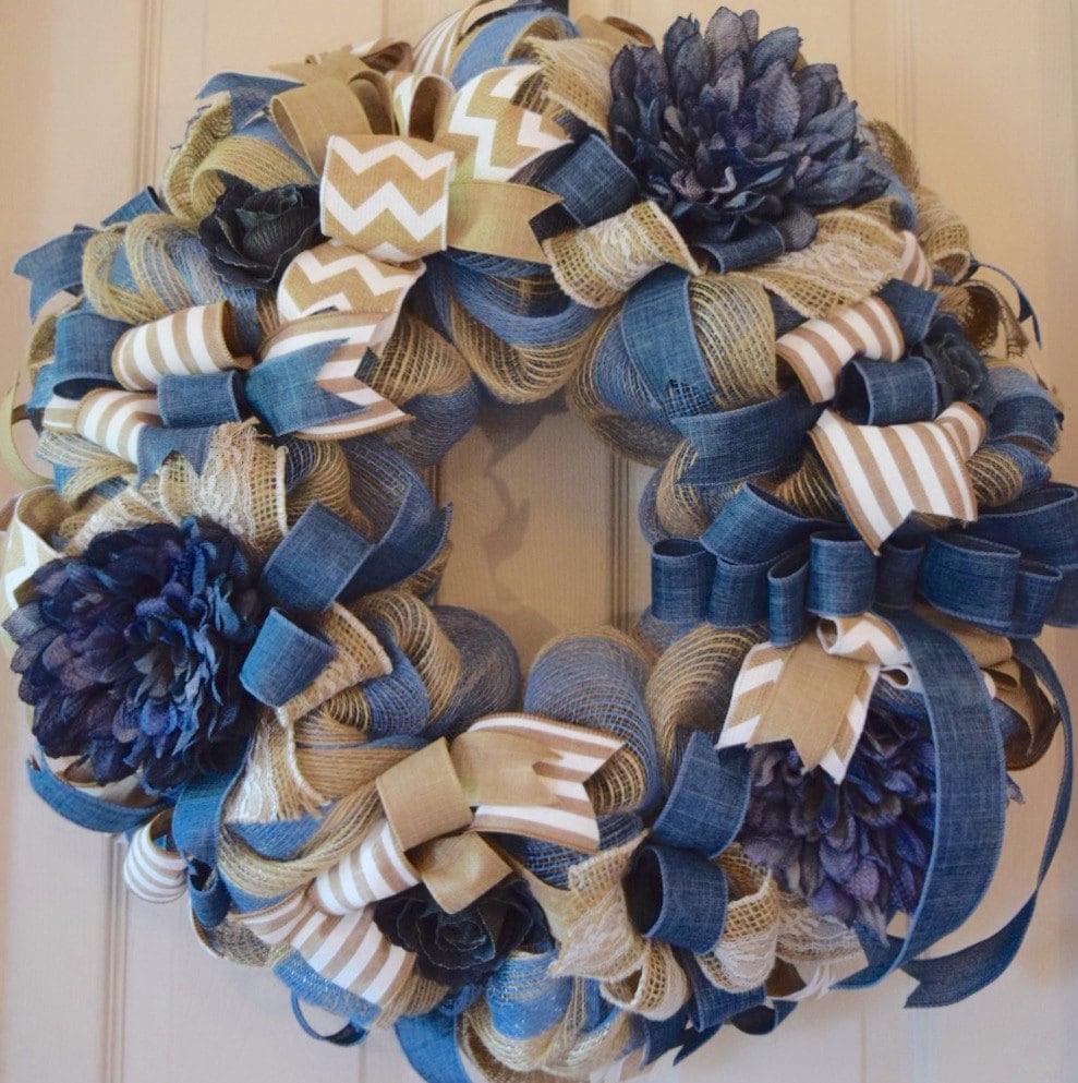 Denim Blue And Burlap Mesh Wreath Front Door Wreath Everyday