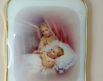 Vintage Guardian Angel Picture, Made in Italy, Glass Covering, Goldtone Frame