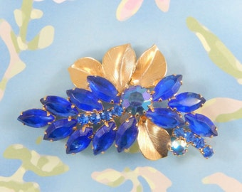 Vintage Cobalt Blue Rhinestones and Gold Tone Leaves Brooch