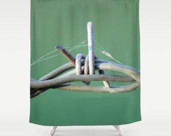 Barbwire and Spiderwebs,Shower Curtain,Green,Grey,BathCurtain,Bathroom Decor,Accessories,Bathroom Art,Designer Curtain,Interior Design