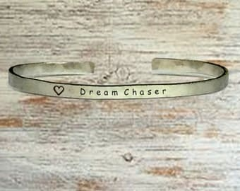 "Popular Jewelry Gifts - Dream Chaser - Cuff Bracelet Jewelry Hand Stamped 1/4"" Organic, Smooth Texture Copper Brass or Aluminum"