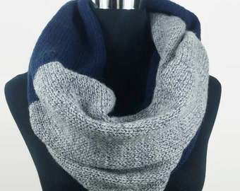 Blue and grey infinity knit scarf, Gift for her, cowl scarf, woman's scarves, knit scarf, handmade knit scarf, circle scarf.