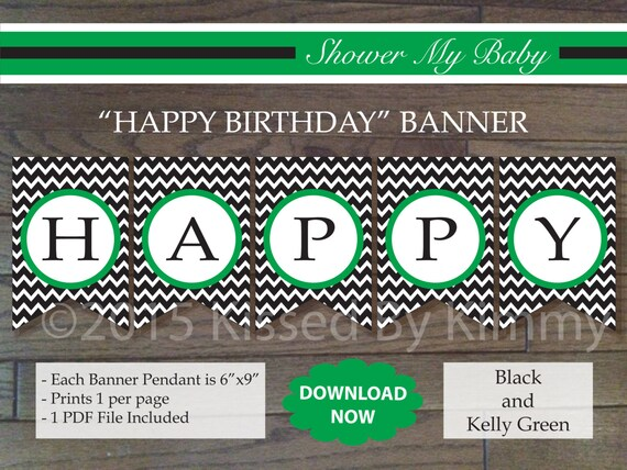 black  u0026 kelly green happy birthday banner printable boy
