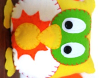 Sun Owl Plushie: Yellow, Green & Orange