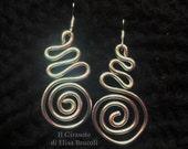Orecchini pendenti in Alluminio Argento Spirali: gioielli alluminio, orecchini wire, anello argento, spirale orecchini, spirale alluminio