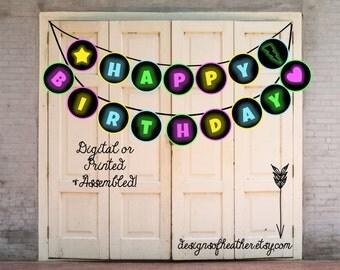 Digital Glow in the Dark Birthday Party Banner