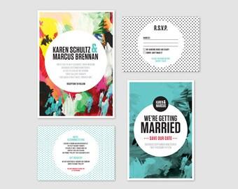 Colourful Wedding Invitation - Karen Wedding Invitation Suite - Printable, modern, polka dots, wedding invite