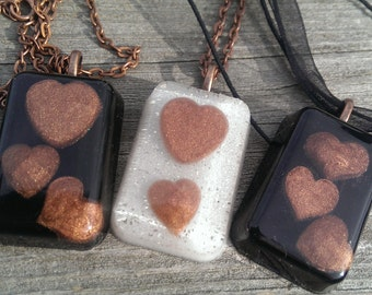 Colored Resin Heart Necklace