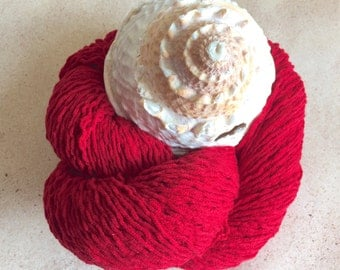 Cotton Acrylic Blend - DK Weight - Deep Red - Recyled Yarn
