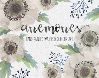 White Anemones Hand-painted Watercolour Clip Art