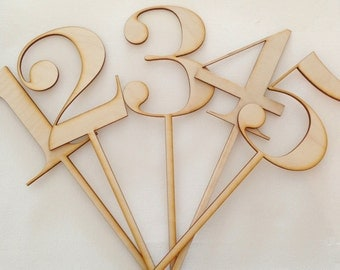 1-25 Wood Laser Cut Number Stakes/Table Markers