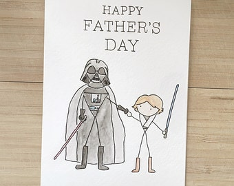 Starwars Fathers Day Card // darth vader card, darth vader greeting card, luke greeting card, luke skywalker card, watercolour skywalker