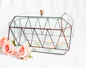 NEW Glass card box Zigzag with lid / Geometric Glass Candle holder / Wedding Card Box / Stained Glass Terrarium / Modern Wedding Decor