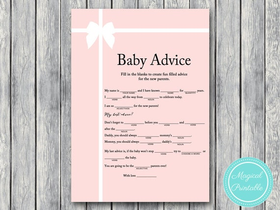 baby advice mad libs baby shower mad libs girl baby shower games