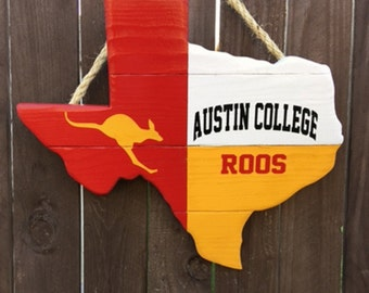 Rustic Wooden Austin College Texas Shaped Flag Door/Wall Hanging