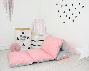 pillow bed baby nap mat sleeping bed sleepover toddler nap mat cotton mat sleeping mattress  bedding riversable double sided - Coral pink
