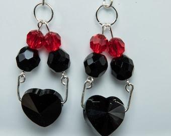 Black crystal heart earrings-X168