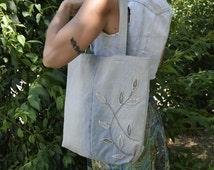 Denim Tote Bag / Grocery Jeans Bag / Recycled Shopping Bag / Denim Tote / Recycled Tote
