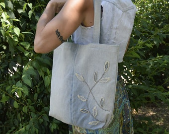 Denim Tote Bag / Grocery Jeans Bag / Recycled Shopping Bag / Denim Tote / Recycled Tote