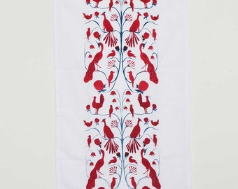 Hand Screen Printed Cotton Tea Towel - Colourful Birds